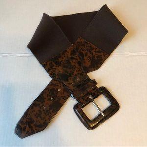 Tortoise Brn/Blk patent leather stretch wide Belt